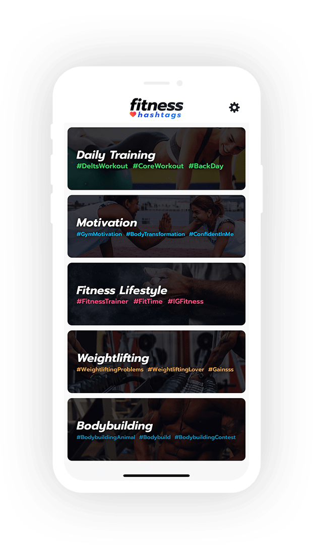 Main screen showing 5 Fitness categories within Fitness Hashtags App.