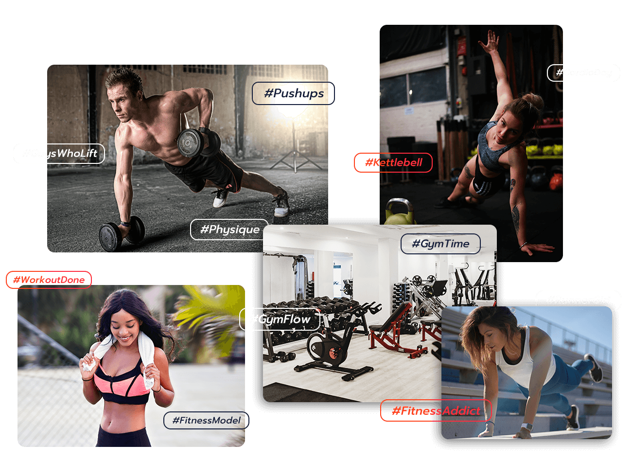 Hashtag Collage over 5 Fitness-related photos